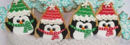 Penguins and Snow Flakes cookie pops basket