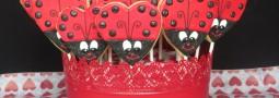 Valentine Ladybug cookie pops basket